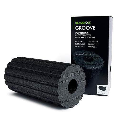 BLACKROLL GROOVE Faszienrolle - das Original (Härtegrad mittel) - Selbstmassage-Rolle mit Vibrationseffekt für die Faszien in schwarz