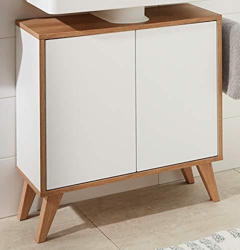 FACKELMANN Finn Badmöbel Set 2 Teile/Waschbeckenunterschrank mit Push-to-Open / 4 Holzfüße/Badschrank mit 2 Türen/Korpus & Front: Weiß/Rahmendekor & Füße: Braun hell/Breite: 60 cm