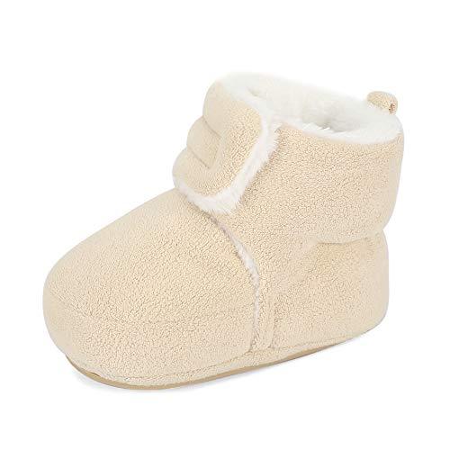 MASOCIO Baby Winterschuhe Mädchen Junge Babyschuhe Winter Baby Lauflernschuhe Boots Winterstiefel Schuhe Beige Größe 19 6-12 Monate