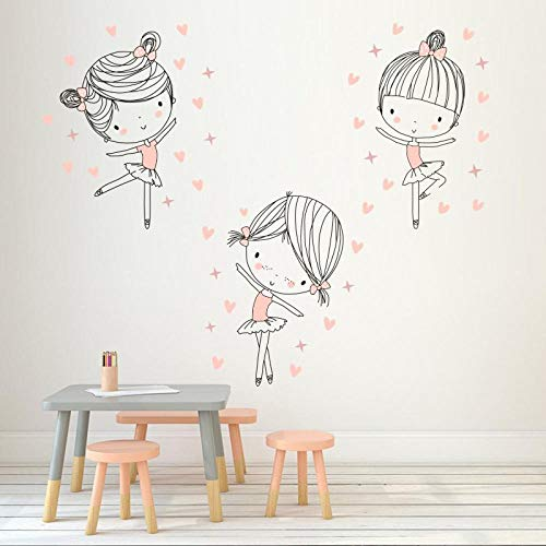OTXA Chica Bailando Vinilo Etiqueta de la Pared Divertida Bailarina de Dibujos Animados Etiqueta de la Pared para niños habitación Dormitorio decoración del hogar