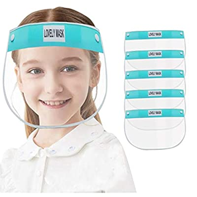 Face Shields for Kids Cute Reusable Face Bandanas for Children Comfortable, Durable and Easy To Clean Anti-Fog Face Shields Protective Transparent Safety Shields with Elastic Band For Children (5pc-B)