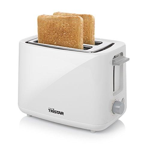 Tristar BR-1040 Tostadora para 2 rebanadas de pan, 2 ranuras cortas, 7 niveles de tostado, bandeja para migas extraíble, función de descongelar o recalentar, 700 W