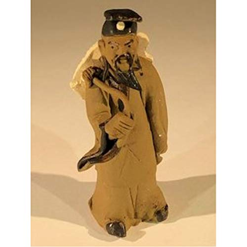 Bonsai Boy Ceramic Figurine -Mud Man Carrying Hat - 3