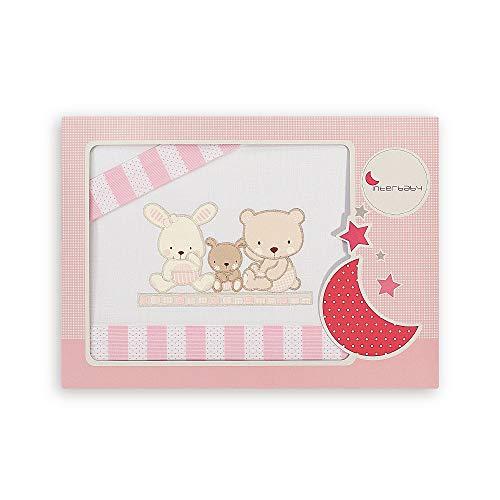 INTERBABY - Juego de sábanas para minicuna Love,color blanco y rosa