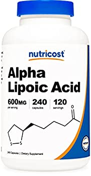 Nutricost Alpha Lipoic Acid 600mg Per Serving 240 Capsules - Gluten Free Vegetarian Capsules Soy Free & Non-GMO