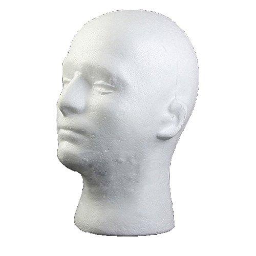 Tête de mannequin homme en mousse de polystyrène pour perruque, lunettes, chapeau, cils, maquillage, massage