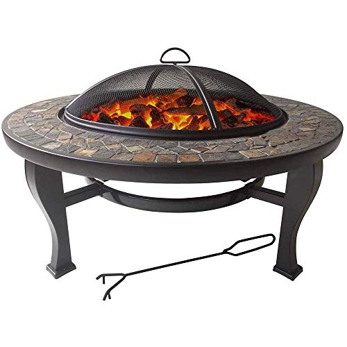 NBVCX Home Decorative Natural Slate 34 Inch Fire Pit with Accents Cooking Griddle Spark Guard Fireplace Poker Garden Outdoor Backyard Patio Firebowl