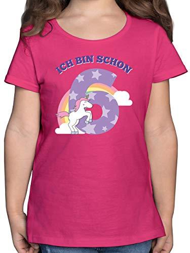 Geburtstag Kind - Ich Bin Schon 6 Einhorn - 128 (7/8 Jahre) - Fuchsia - Tshirt Geburtstag 6 - F131K - Mädchen Kinder T-Shirt