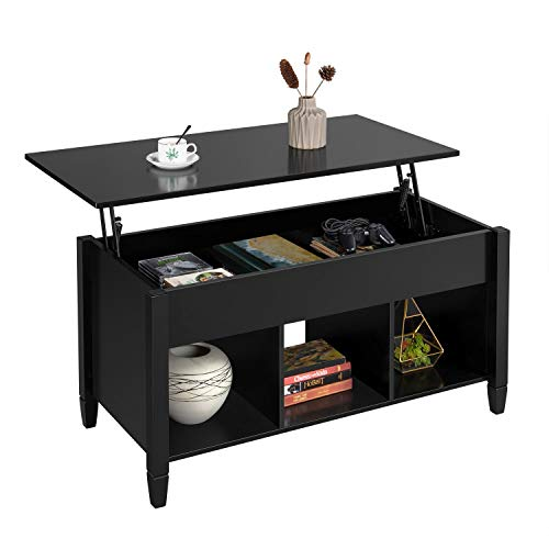 YAHEETECH Modern Wood Rectangle Lift Top Coffee Table w/Hidden Compartment & 3 Cube Open Shelves for Living Room Reception Room Office, Black