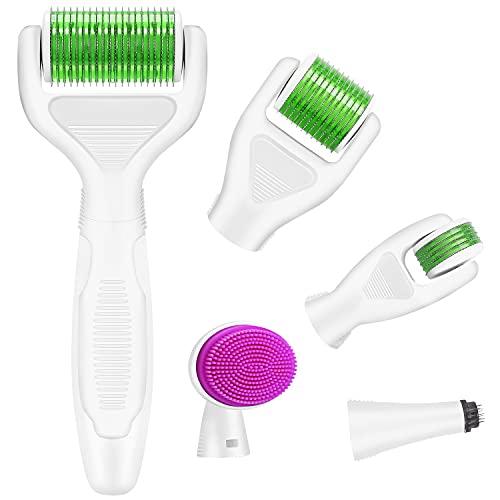 Dermaroller, Kastiny 6 in 1 Micronadeln Derma Roller für Gesichtspflege mit Micro-Needling, aus Edelstahl Micronadeln für Anti Falten, Grün