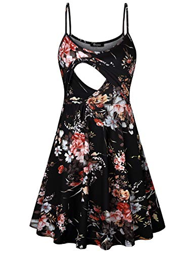 Quinee Nursing Clothes for Breastfeeding, Mothers Spaghetti Strap Maternity Tank Dresses for Women Special Occasions Plus Size Postpartum Dress with Empire Waist Black Floral M