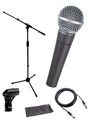 Shure SM58-LC Cardioid Dynamic Vocal Microphone Bundle with Stand Adapter and Zippered Pouch from Shure Incorporated