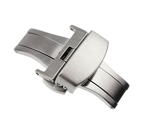 RECHERE 22mm Silver Brushed Matte Push Button Butterfly Deployment Clasp for Leather Watch Band Strap