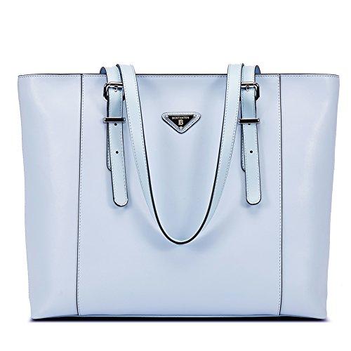 BOSTANTEN Damen Leder Handtaschen Groß Shopper 15 Zoll Laptoptasche Schultertasche Aktentasche für Büro Blau