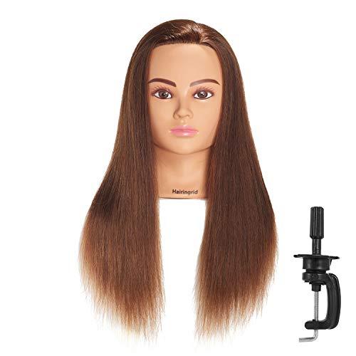 Hairingrid Mannequin Head 24 -26 100% Human Hair Hairdresser Cosmetology Mannequin Manikin Training Head Hair and Free Clamp Holder (R71906LB0418H)