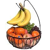 XINAYUEJP Fruteros Cesta de Frutas Estantes para Frutas con Soporte para Plátanos, Frutero con Gancho para Racimo de Plátanos, Esta de Frutas y Vegetales de Metal, para Más Espacio en la Encimera
