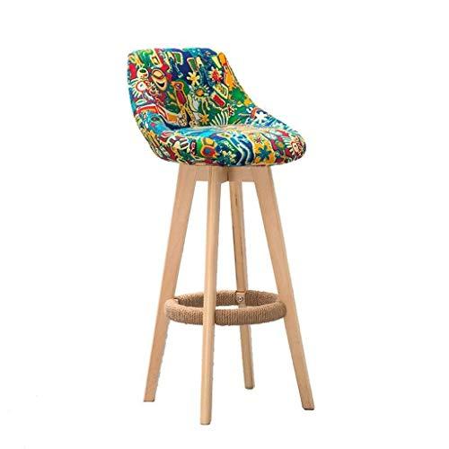 Tabouret de bar en bois rotatif à 360 ° pour cuisine, maison, bar, comptoir, chaise commerciale avec dossier et coussin en tissu vert, style épuré