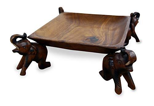 Obstschale, Gebäckschale mit Elefanten aus Holz, Brotschale, asiatische Deko Schale eckig, Holzelefanten
