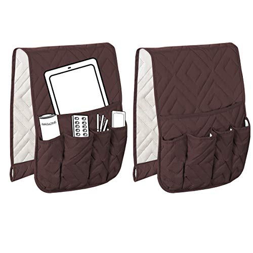 HVERSAILTEX 5 Pockets Couch Sofa Chair Armrest Organizer for Phone Book Magazines TV Remote Control AntiSlip Armrest Organizer 2 Packs Brown/Beige Diamond Pattern  13quot x 35quot