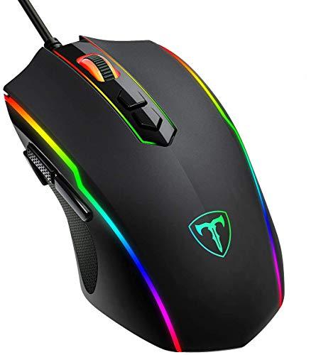 Qtuo ゲーミングマウス光学式 usb有線 マウス1680万色のRGBライト/最大7200DPI 調整可能 8ボタン/8個のプログラムボタン/手首の痛みを予防 握り心地よい 耐汗&滑り止 PUBGなど対応