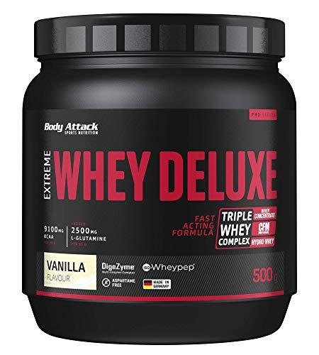 Body Attack Extreme Whey Deluxe, Vaniglia, proteina in polvere con aminoacidi e Triplo-Whey-Complex con Whey Isolate, a basso contenuto di zuccheri e di grassi, lattina da 500g, Made in Germany
