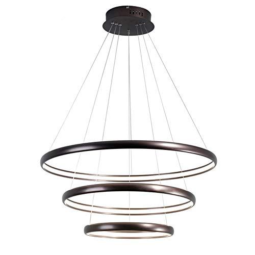 Lampe LED Suspension Luminaire Design moderne Trois Anneaux Lustre Hauteur Réglable lampa à suspension Table À Manger Appartement Bar Hall Pendante Lampe 138W Ø 80 + 60 + 40CM, Lumière chaude