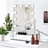 Miroir Maquillage Illuminé Hollywood,Miroir de Maquillage avec Lumières,avec 12 Lampes Dimmables et Connexion de Chargement USB,Smart Touch Control 3 Couleurs Dimmable