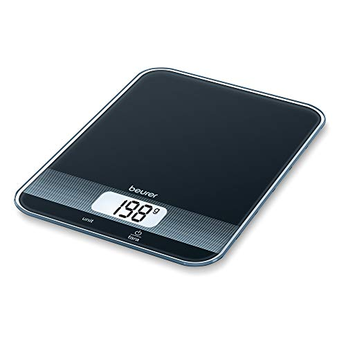 Beurer KS 19 digitale Küchenwaage (mit Tara-Zuwiegefunktion, Sensortastenbedienung, 5 kg Tragkraft) schwarz