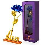 Hianjoo Flores Artificiales Rosa con Caja de Regalo, Amor para Madre el Día de San Valentín Navidad Aniversario día de Gracias para Amigos como Regalo de Cumpleaños, Azul