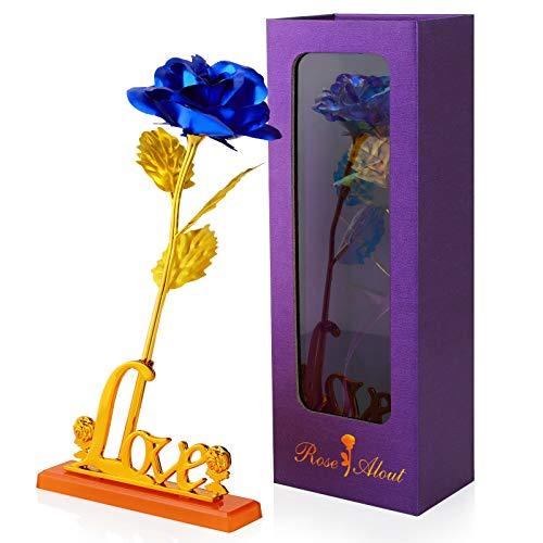 Hianjoo Gold Rose Kunstblumen mit Stand und Geschenkbox, Rose Geschenk Handgefertigt Konservierte für Valentinstag, Hochzeit, Muttertag, Geburtstag, Jahrestag, Weihnachten, Hochzeitstag(Blau)