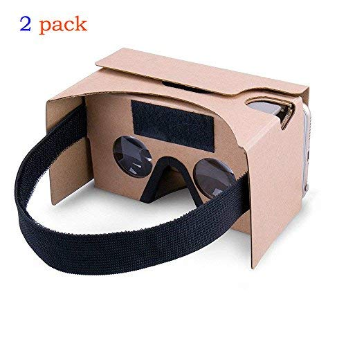 2Pack Google Cardboard,Virtual Real Store 3D VR Headset Virtual Reality Glasses Box with Big Clear 3D Optical Lens and Comfortable Head Strap Nose Pad for iPhone and Smartphones