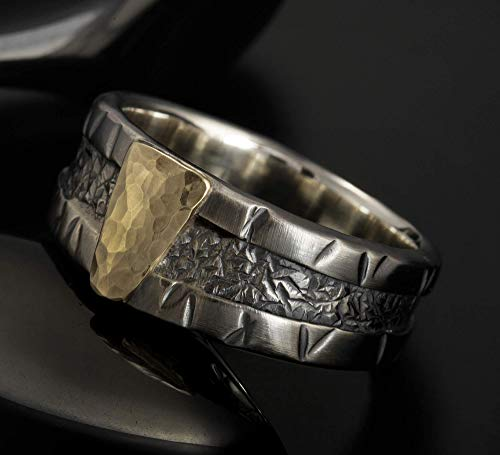 Celtic wedding band, Mans ring, Unique mens ring, Silver wedding band, Silver and 14K Gold, wedding Ring, Man's Engagement ring, 1257