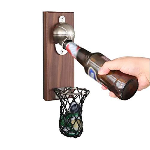 Ibesecc Abridor de botellas de pared con tapa magnética, abridor de botellas de cerveza, baloncesto, bolsillo de madera, imán para nevera