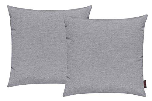 Fino Kissenhülle ca. 50 x 50 cm hochwertig & knitterarm Farbe 03 Grau (2er Set)