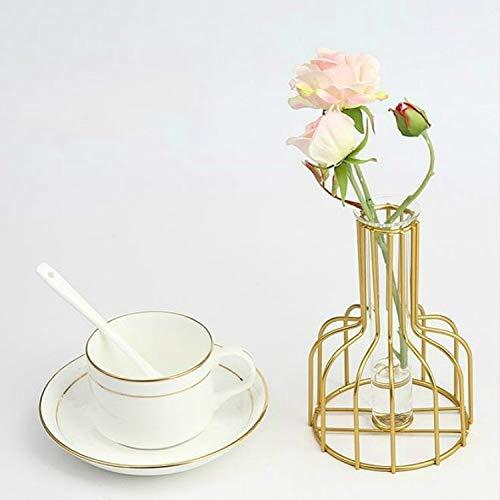 PETZMALL Hierro Forjado Hidropónico Verde Flor seco Flor de Cristal Insertar decoración sin Flores (Color : Gold)