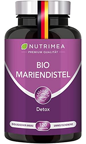 DETOX Mariendistel BIO | Natürlich Leber & Körper entgiften | Reines Mariendistel-Extrakt OHNE Zusätze | 120 Kapseln Hochdosiert - 900 mg TAGESDOSIS Silymarin - 100% Vegan