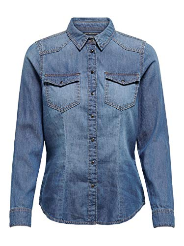 ONLY Damen ONLROCKIT Life LS Shirt BB NAS844 Bluse, Medium Blue Denim, 34