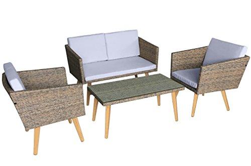 Jet-Line Gartenmöbel Cassis in braun meliert Neu Lounge Garten Lounge Retro Design Terasse Balkon Möbel