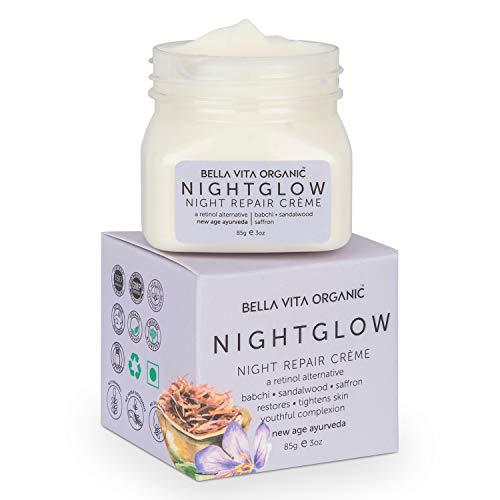 Bella Vita Organic Night Glow Face Cream For Skin Repair, Hydration, Anti Ageing & Dryness Control With Saffron, Babchi, Sandalwood & Shea Butter, 85 gm