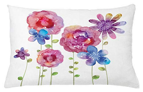 Ambesonne Flower Throw Pillow Cushion Cover, Watercolors Illustration of Different Kinds of Flowers Boho Style Pattern, Decorative Accent Pillow Case, 26 W X 16 L Inches, Pink Purple Blue