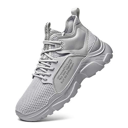 XIDISO - Scarpe da ginnastica da uomo, alla moda, scarpe da ginnastica sportive da running, scarpe da ginnastica traspiranti e casual, Grigio (grigio), 44 EU
