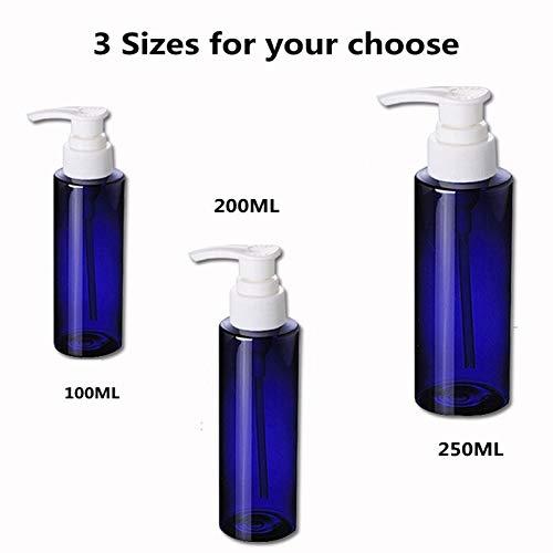 WATERMELON 3Ps 100ML 8OZ Bouteilles en Plastique Bleu Lotion Lotion Pompe for Le shampooing, Soins personnels, Lotion Boston Rechargeables Bouteilles Accueil Recyle (Size : 100ml200ml250ml)