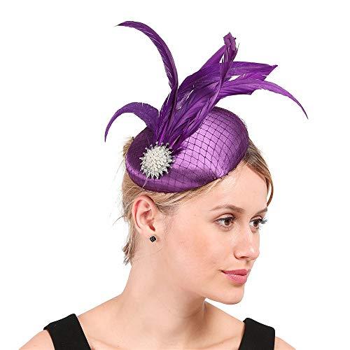 D&XQX Clásico Elegante Pluma Fascinante Cabello Clip de Pelo Sombrero Diadema con Encanto Malla Nupcial Velo de Novia Boda Fiesta Nueva Fedora Chapeau Damas
