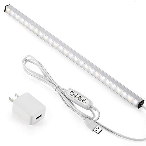 LED バーライト 5V USBライト 37cmキッチンライト パソコン照明ランプACアダプター付き 棚下ライト無段調光 化粧ライト棒 磁石内蔵 工事不要 電球色 昼白色 昼光色 高輝度