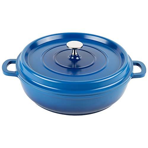GET Heiss CA-005-CB/BK Cast Aluminum Braiser Pan/Casserole Dish, 3 Quart, Blue