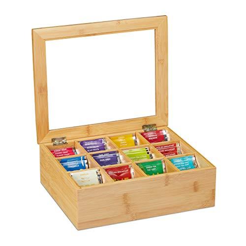 Relaxdays Teebox, Bambus, 12 Fächer, Teekiste mit Sichtfenster, Organizer für Teebeutel, HxBxT: ca. 9x28x23 cm, natur, 10032112