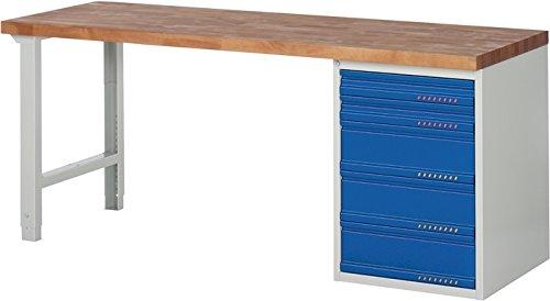 Promat Werkbank BK 650 B2000xT700xH840mm Schubl. 2x90 3x180mm lichtgrau/enzianblau