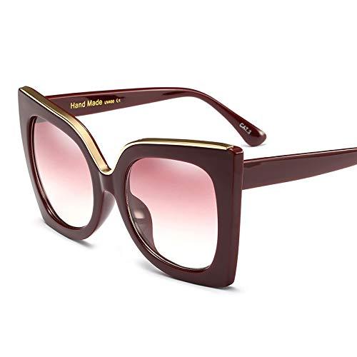 tggh Gafas de sol de moda con montura grande, ojo de gato, para mujer, Luxulry, vintage, leopardo, Homme Chica, gafas de sol clásicas y negras (lentes de color: 3)