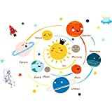 Large Solar System Wall Stickers Astronaut Rocket Spacecraft and Stars Wall Decals Cartoon Universe Wall Art Decor Decals Murals for Home Decoration Removable Planets in The Space Kids Peel and Stick
