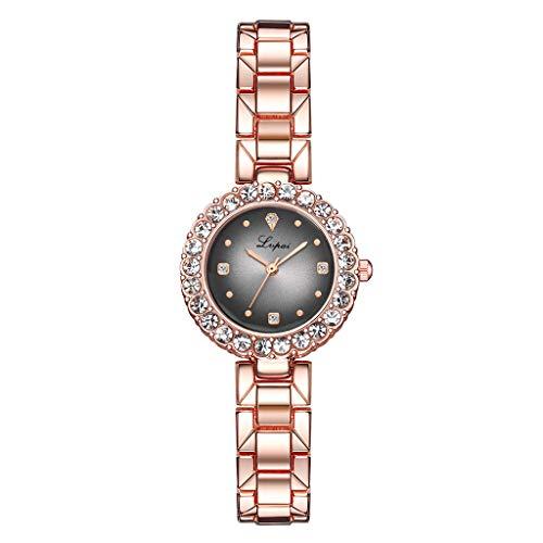 Pulsera Reloj de Moda de Dos Piezas Conjunto Simple Reloj de Cuarzo Establecer cinturón de Acero Temperamento Reloj de Mujer P1116-RGOGR Gris Oro Rosa